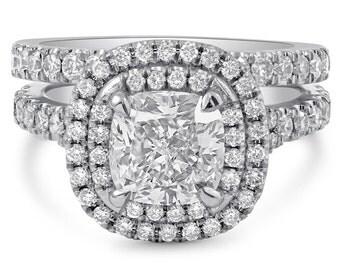 Cushion Cut Double Halo Engagement Ring & Band Wedding Set C20S