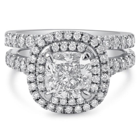 Cushion Cut Soleste Style Double Halo Engagement Ring & Band