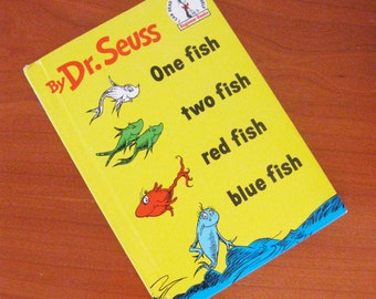 Vintage Childrens Book Dr Seuss One Fish Two Fish Red Fish Blue Fish 1980s