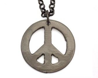Metal Peace Sign Charm on Gunmetal Chain by WATTO Distinctive Metal Wear