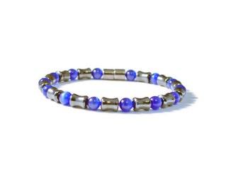 Men's Blue Cat's Eye & Black Magnetic Bracelet, Arthritis Pain Relief Jewelry