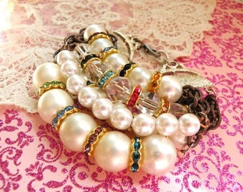 assemblage bracelet layer tangle recycle faux pearl station