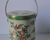 Vintage Daher  Bird of Paradise and Cherry Blossom Flowers Tin Box with Handle.