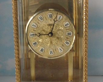 Vintage KOMA Mantle Clock. Metal and Glass. Germany
