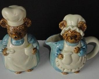 Vintage Otagiri Bear Chefs Ceramic Cream and Sugar set