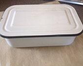 Vintage Enamel Ware Large Covered Refrigerator Storage