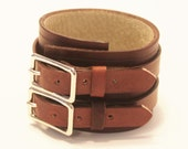Mahogany Brown Leather Cuff Bracelet Adjustable with Buckles Mens Womens