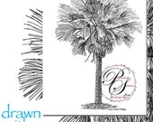 11x14 two palm trees with additional calligraphy and additional color RESERVE for Vera
