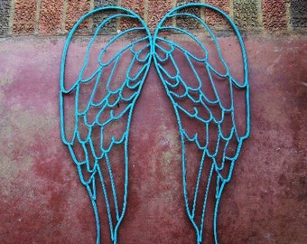 Shabby Chic Wrought Iron Angel Wings Fairy Wings Turquoise Distressed Chippy Metal Wall Decor