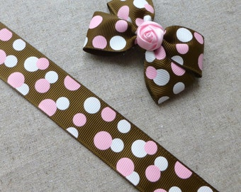 free shipping in UK - 3 metres grosgrain brown ribbon with spots 25mm