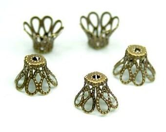 Free Shipping in UK - 100 pcs Antique bronze filigree bead cap