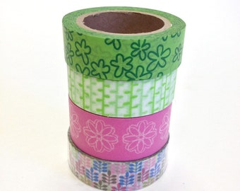 Washi Tape Set - 15mm - Flowers Leaves Stems - Four Rolls Washi Tape No. 218, 232, 479, 665