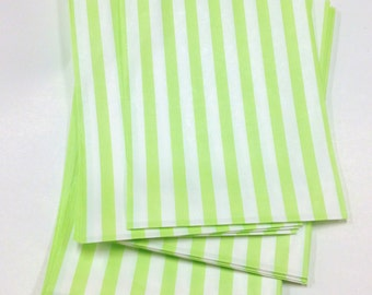 Set of 275 - Traditional Sweet Shop Lime Green Candy Stripe Paper Bags - 5 x 7 - New Style