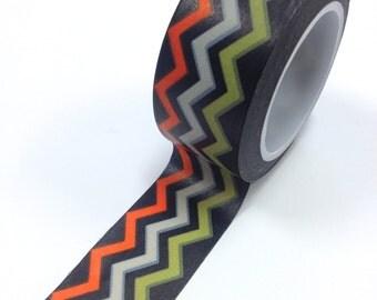 Washi Tape - 20mm - Orange Grey Green Chevron on Black - Deco Paper Tape No. 960