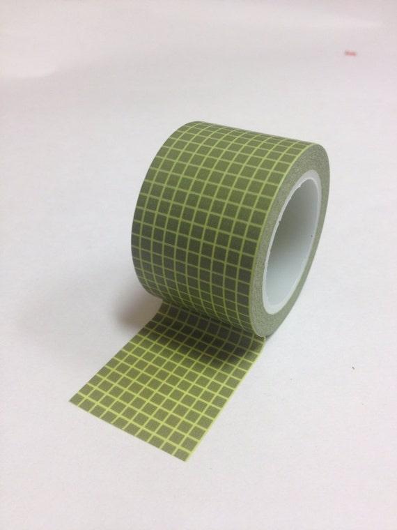 Washi Tape - 38mm - Light Olive Grid on Olive Green - Deco Paper Tape No. 60