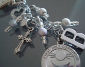 girls personalised first holy communion key ring bag purse tag chain gift ANY INITIAL
