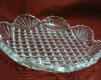 Lovely Vintage Small Scalloped Edged Dish Small Square Bottom