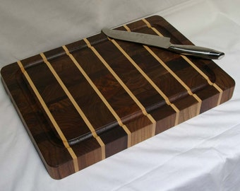 SALE! Cutting Board End-grain Walnut with Maple Stripes Medium Size