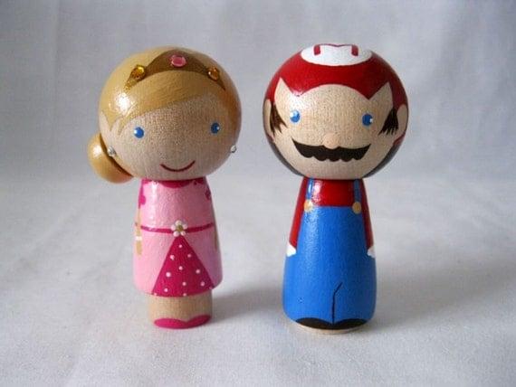 Super Mario Princess Peach a Video game romance Kokeshi Peg Doll Couple Wedding Cake topper or Ornament