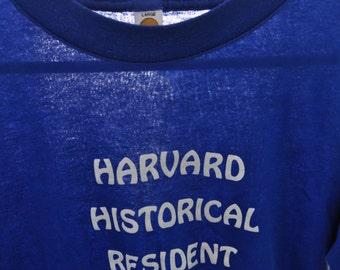 Near Burnout Super Soft n Thin Royal Blue Harvard Historical Resident Boston MA Cambridge Tshirt Simple vtg Classic XL