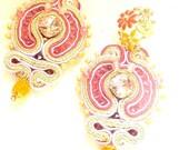 soutache long flower earrings , statement earrings , pink gold earrings , fashion earrings , gold plated studs earrings , pastel jewelry