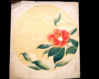 Camellia Flower Vintage Print Japanese Magazine Insert in Showa Period