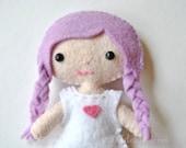 Mini Felt Doll Pattern - Lola The Cutie Pie Pocket Doll * 4 inch Tiny Kawaii Doll Sewing Pattern *