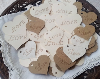 Collection of 140 Heart Shaped Love Wedding Rustic Shabby Chic Tags