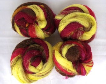 Fiber Nests - Batts for Spinning or Felting - 6.2 oz - Campfire - Free US Shipping