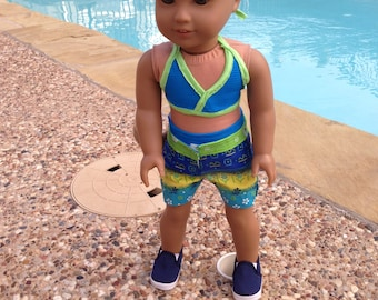 18 Inch Doll Clothes Rocking the Surf Bikini Short Set Ready to Ship