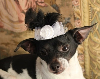 Cute silver  color  mini  hat with   feather and flower  for dog or cat