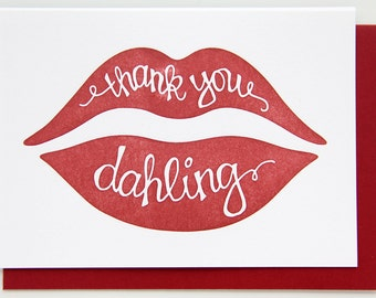 Thank You Dahling Red Lips Letterpress Card