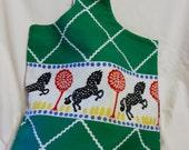 Tote Bag Handmade Black Horse in a Cherry Tree OOAK