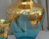 Wedding VASE Rare Turquoise Bohemian Art Glass with Gold & Beautiful florals pattern