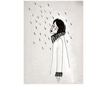 Rainy Day Art Feminist Print, Black and White Digital Pencil, I don't mind the rain, Whimsical Art Print, illustration, Bad Weather Wall Art