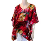 Graphic Magenta, Teal and Gold Tunic, Caftan, Swing Top, Poncho with Kimono Sleeves and Handkerchief Hem