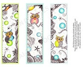 Digital Download - Set of 3 PRINTABLE Whimsical Owls Bookmarks Zentangle Inspired Life Planner Dividers