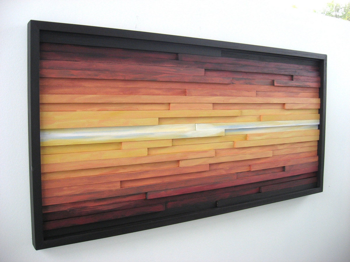 Abstract landscape painting on wood wall art