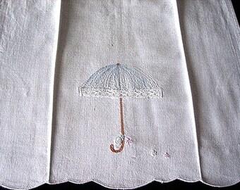 TOWEL Kitchen Bath Wash Cloth Vintage Washstand Guest Display Hemstitched Embroidered Linen Lace Blue Umbrella