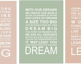 SALE - A3 Typography Prints - Set of 3 A3 prints Dreamers prints
