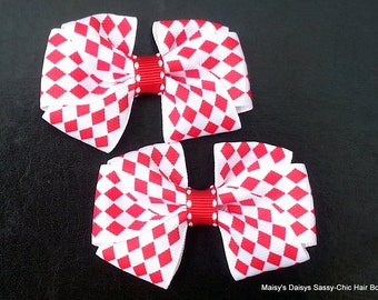 Red and White Harelquin Hair Bows