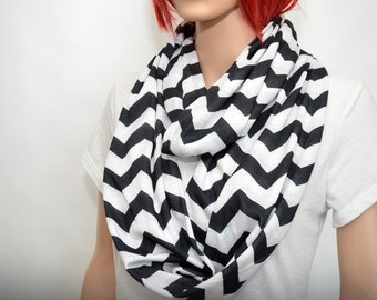 Chevron Infinity Scarf, Woman Scarf, black and white scarf