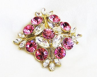 Edlee Pink and Clear Brooch