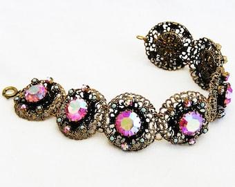 Pink Aurora Borealis Bracelet Filigree Setting