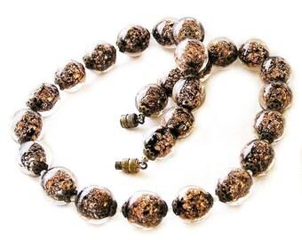 Black Aventurina Venetian Bead Necklace Looks Brown