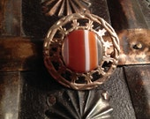 Vintage Scottish Thistle Agate Stone Stamped 900 Silver Brooch - SALE