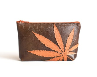 Marijuana Leaf Mini Zipper Bag - Pot Leaf Pouch - Orange Cannabis Leaf Silhouette on Espresso Brown Vegan Leather