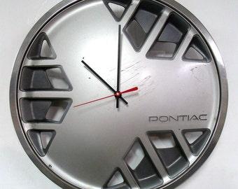 1986 - 1987 Pontiac Fiero Sunbird Hubcap Clock - Retro PMD Hub Cap Car Part Wall Decor - Garage Man Cave - SALE
