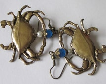 Crab Earrings Antiqued Gold Dangle Earrings Maryland Blue Crab Jewelry Zodiac Cancer Crustacean