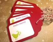 Christmas Tags, Holiday, Cardinal Tags, Mistletoe Berry Tags - Set of 12